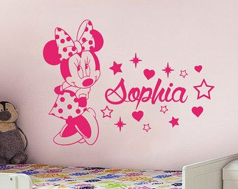 Girl name wall decal minnie mouse wall decals personalized name stickers baby kids girls room - Wandtattoo minnie maus ...