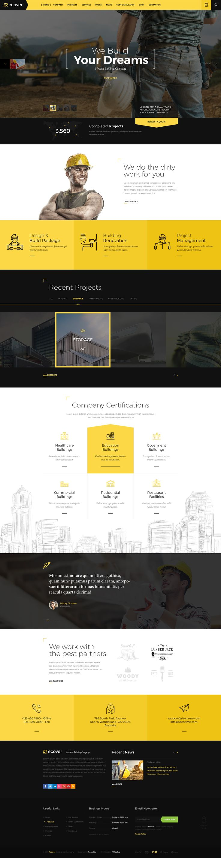 recover construction building psd template - Web Design Project Ideas