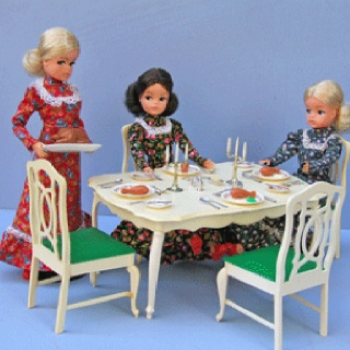 Sindy doll sets.  Had this one as well.  It survived me and my oldest daughter but sad to say my youngest kept stepping on them and breaking the chair legs.