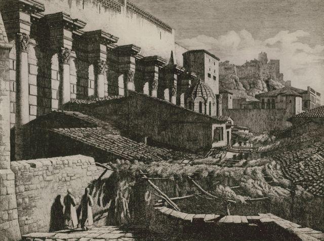 "1923, Hadrian's Library Άποψη της Βιβλιοθήκης του Αδριανού. Διακρίνεται το εκκλησάκι Άγιος Ασώματος ""στα Σκαλιά"". - REISINGER, Ernst"