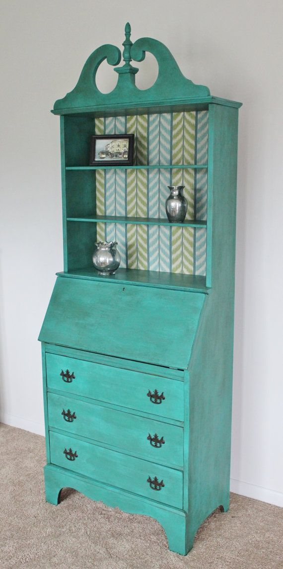 painted antique secretary desk with hutch | antique-secretary-desk-in-florence-chalk