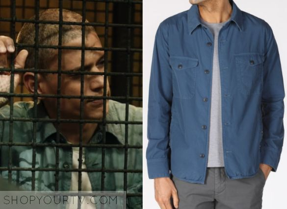 "Prison Break: Season 5 Episode 1 Michael's Blue Shirt   Shop Your TV Michael Scofield (Wentworth Miller) wears this light blue button down shirt jacket in this episode of Prison Break, ""Ogygia"".  It is the Save Khaki United Poplin Multi-Pocket Jacket."
