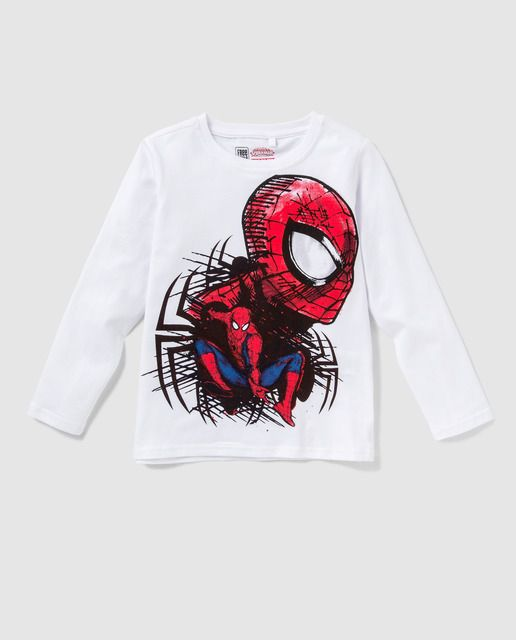 Camiseta en color blanco, de manga larga y cuello redondo. Detalle de print del personaje Disney de Spiderman.