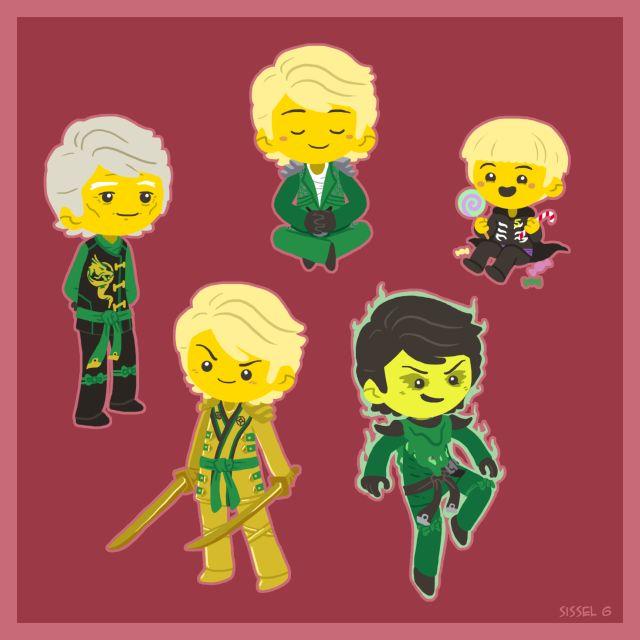 Lloyd as a child, green ninja, golden ninja, motto, and old