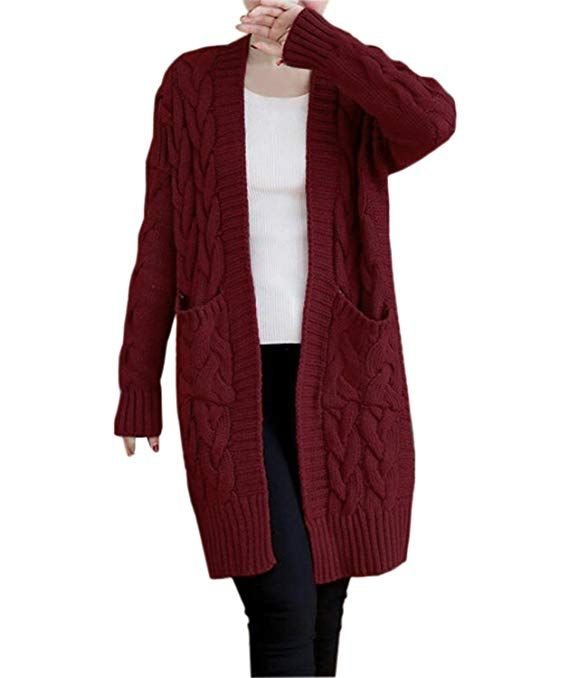 5bd352ec92 NUTEXROL Women s Open Front Long Sleeve Knit Think Cardigan Chunky Sweater  Oversized Coat  Cardigans