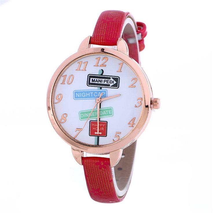 Women Watches Stylish Big Dial Colorful Road Sign Quartz Wrist watch Personality Clock zegarki damskie #Affiliate