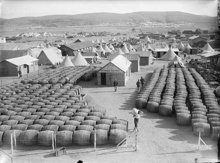 The French Army's Wine Stock before the Battle of Gallipoli, 1915 - French Expeditionary's wine stocks for the Gallipoli campaign, an unsuccessful attempt by the Allied Powers to control the sea route from Europe to Russia during World War I. The French however, were prepared for hardship.
