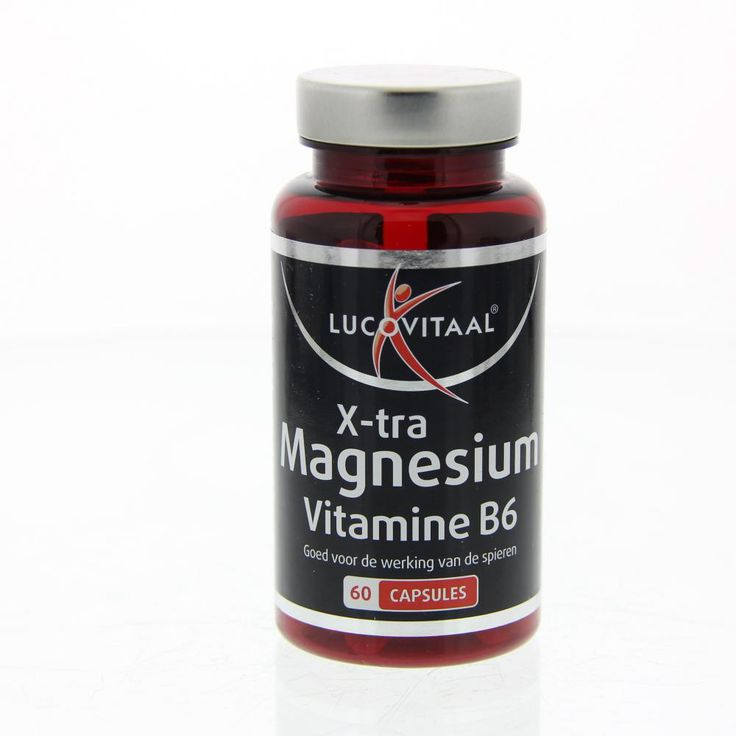 Lucovitaal Voedingssupplementen X-tra Magnesium Vitamine B6 Capsules 60Caps  Description: Lucovitaal X-tra Magnesium Vitamine B6.Goed voor de werking van de spieren.Gebruik: 3 capsules per dag.  Price: 4.50  Meer informatie