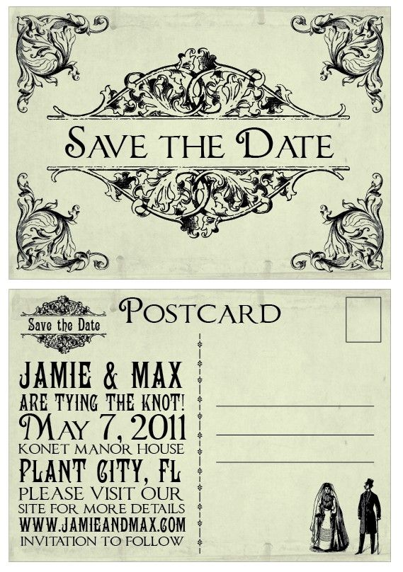 Vintage - Victorian Edwardian Antique Border Wedding Postcard Save the Date. $3.00, via Etsy.