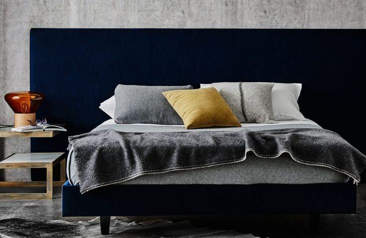 Upholstered bed featuring Mirabelle bedhead in Liaison Ocean Velvet