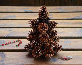 Albero di Natale rustico dell'albero di Natale pigna bosco Natale arredamento tavolo sopra un albero Pigna topiaria albero Natale pigne pigne