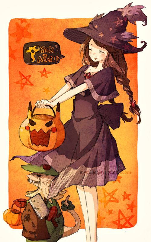 say trick or treat this witch gonna have some candys her name is stefanie and she love hallowen - I Luv Halloween Manga
