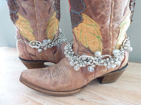 Cowboy Boot Bling.Cowgirl Bling# Boot Bracelets. Western Apparel. Boot Accessories. Boot Jewelry. Cha Cha Jewelry. Country.Boot Candy. Or maybe this pair? Christmas ideas?