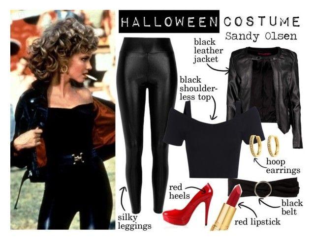 """Halloween Costume: Sandy Olsen"" by nerd-ville ❤ liked on Polyvore featuring Black, MANGO, Boohoo, Posh Girl, Monet, Isaac Mizrahi, Halloween, Costume, cosplay and halloweencostume"