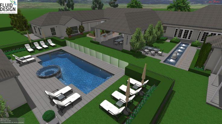 Aerial view across the rear garden w/ pool, cabana, pond courtyard, alfresco area & vege garden