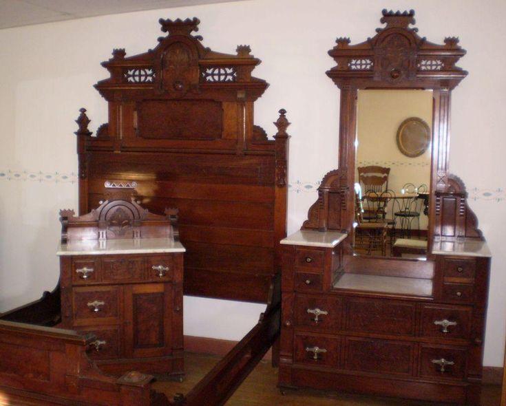 Antique Walnut Burled Elm Bedroom Set marble top original finish circa 1880s - 292 Best Antique Furniture Images On Pinterest Antique Furniture