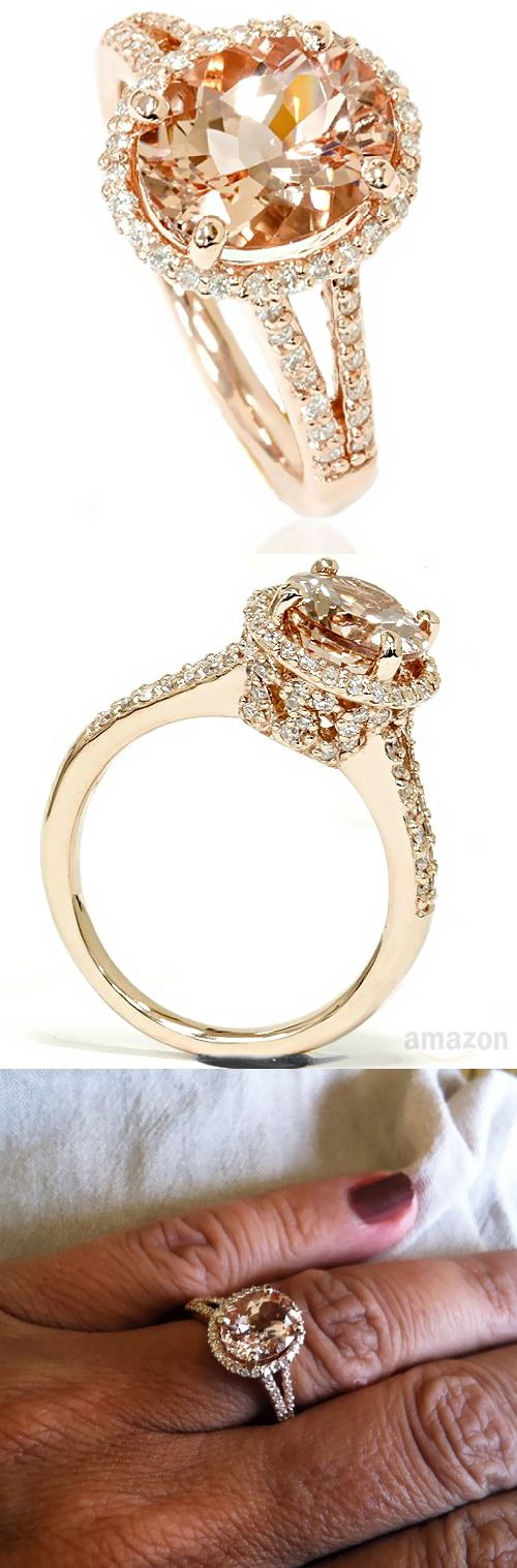 morganite and gold diamond halo engagement ring