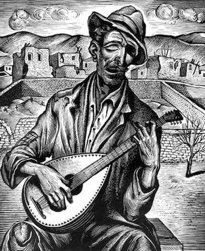 The instrument player. Woodcut. 1946-50. Tassos (Tassos Alevizos).