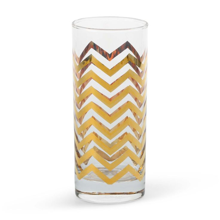 Tabletop Decorations - Golden Chevron Highball Glasses (Set of 4)
