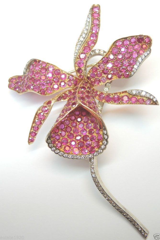 Antique Ruby and Diamonds brooch