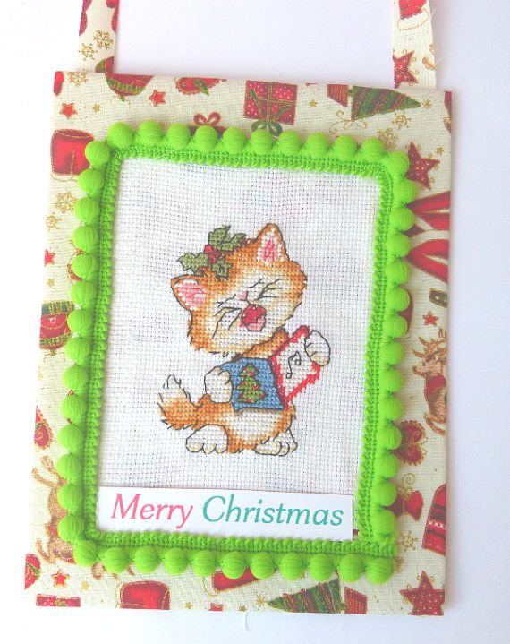 Cat Christmas Ornament Cute and Sweet Cat by CrossStitchElizabeth