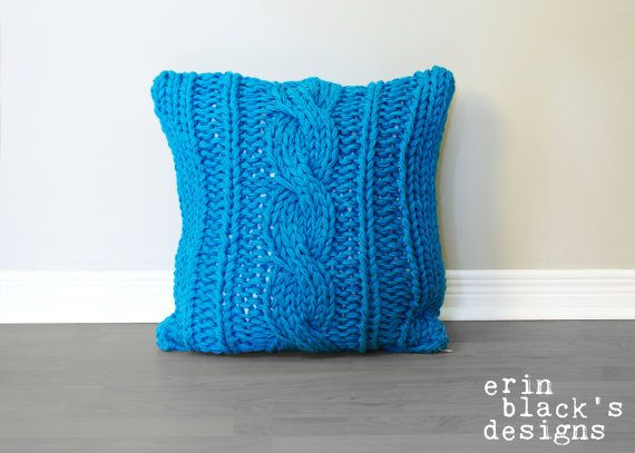 Chunky Cable Twist Knit Pillow Cover Pattern by Erin Black's Designs on Etsy