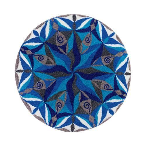 Inspirational Dezenter runder Badteppich mit Mandala in sch nen Blau und Braunt nen aus Polyacryl supersoft rutschhemmend beschichtet waschbar bis Schadstoffgepr ft