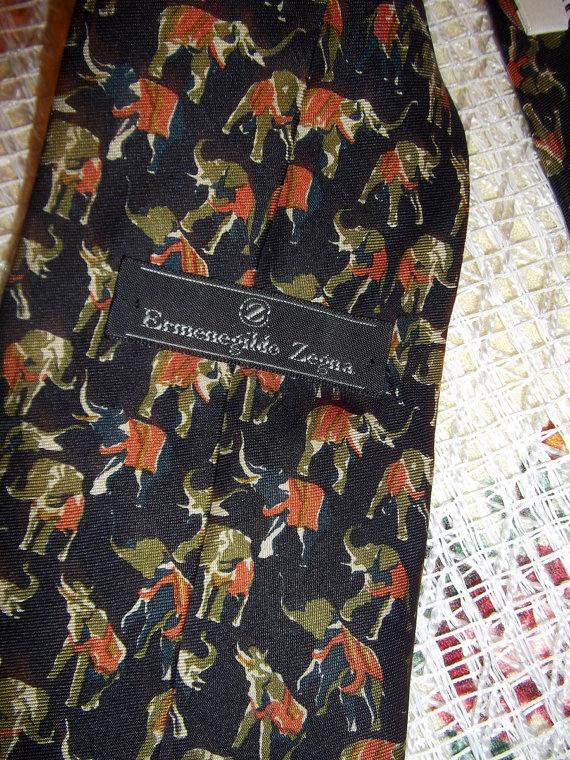 Ermenegildo Zegna elephants print vintage  tie by CHEZELVIRE, $18.00