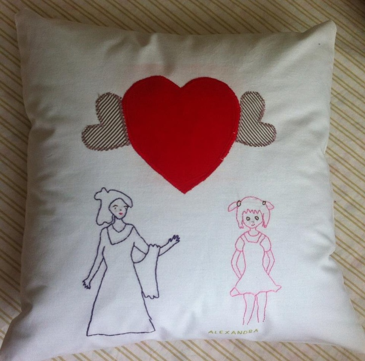 Happy Pillow- Fairy & little girl- handmade pillow  35x35 cm  Order at: happy_pillows@yahoo.com
