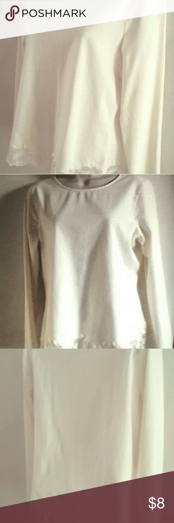 "COLDWATER CREEK  Top Size 14-16 Cream Womens Top Long Sleeve 15"" shoulder to shoulder, 19"" underarm to underarm in front, 22"" sleeve length - ivory color Coldwater Creek Tops"