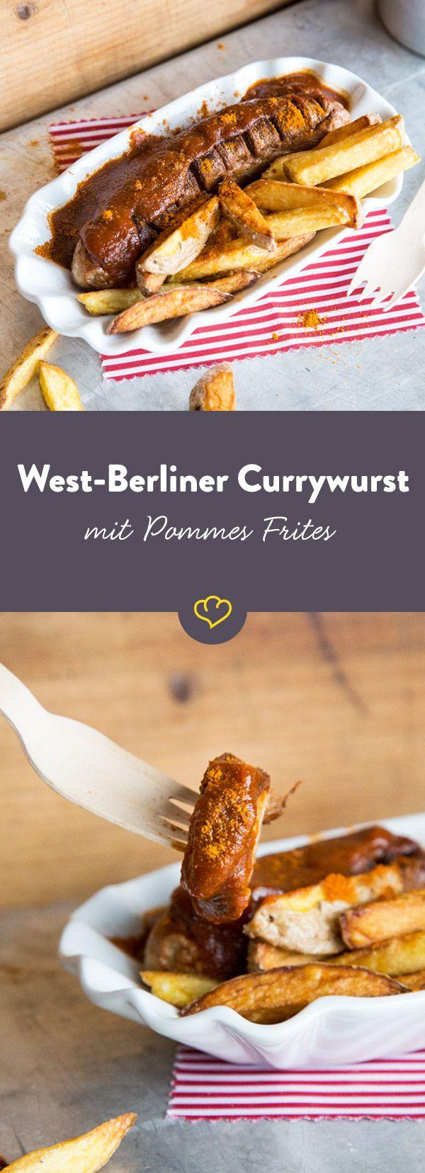 Hol dir ein echtes Stück West-Berlin nach Hause. Krass gebratene Wurst mit Darm, fruchtig scharfe Currysauce und frisch frittierte Pommes.