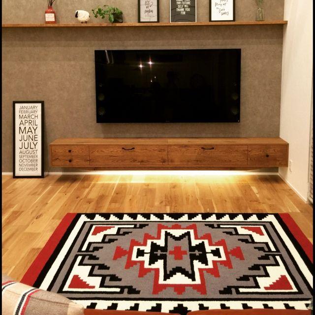momoさんの、CRUSH CRASH PROJECT,造作家具,テレビ,65インチ,壁掛けテレビ,SONYBRAVIA,テレビボード,リビング,のお部屋写真