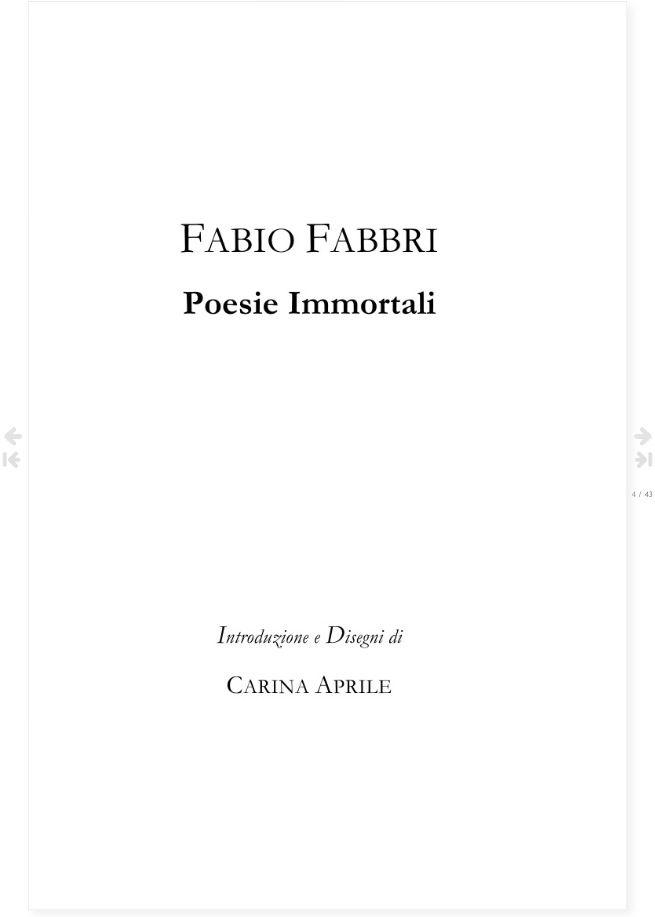 Pagina 1 del libro FABIO FABBRI - Poesie Immortali - a cura di Carina Aprile