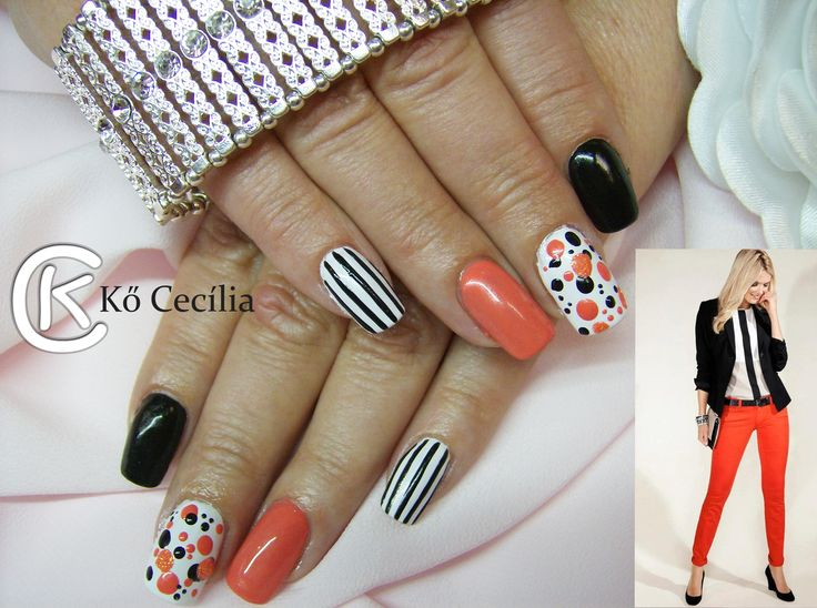 Nails ,summer,white,black, orange