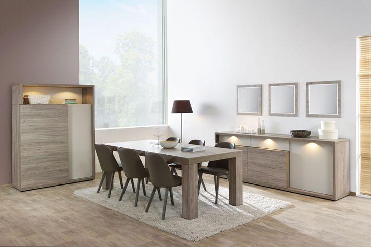 BALZAMIK - Belle salle à manger en décor chêne chataigne avec accent beige/gris. Le meuble bar est éclairé et il est possible de choisir entre différentes tables, chaises et meubles de complément   Meubles Lambermont
