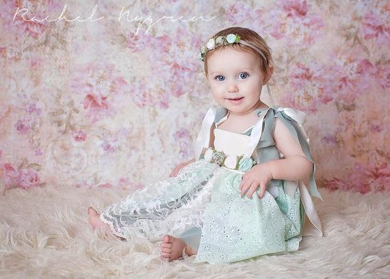 6-12 Month sitter dress floral tieback & by JazzCraftBoutique