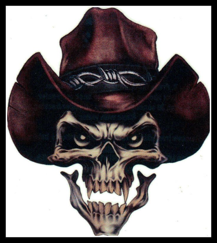 For the older kids...BIG GOTHIC COWBOY SHERIFF OUTLAW EVIL SKULL TEMPORARY TATTOO
