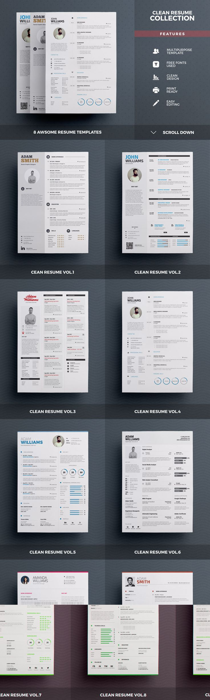 17 best images about ✏ professional resume templates best selling resumes all in one by the resume creator on creativemarket