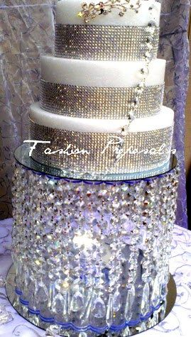 Wedding Cake Stand with Crystals/Chandelier/ Waterfall Cascade Crystal Cake Stand. Stunning crystal cake stand.