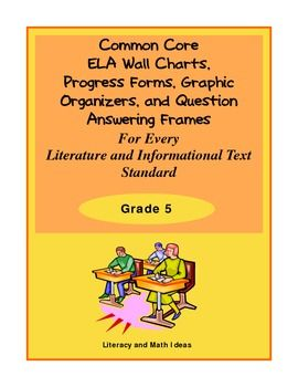 Grade 5 Graphic Organizers, Progress Forms, Wall Charts, and Question Answering Frames for EVERY ELA Literature and Informational Text Standard!