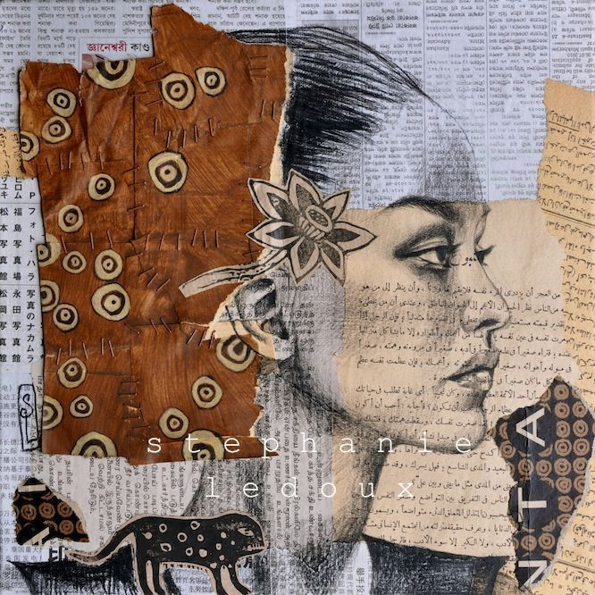 Stéphanie Ledoux Panta Technique : Sanguine noire, collage, linogravure Format : 30x30 cm