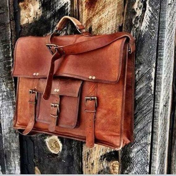 Men/'s New Real Leather Vintage Laptop Messenger Handmade Briefcase Bag Satchel