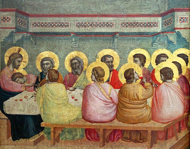 Giotto di Bondone (ca 1266-1337), Last Supper, 1320-25, tempera on wood, 45 x 43 cm, detail