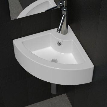 vidaXL Vasque à poser/ Lave Main Angle Blanc en céramique + Trop Plein