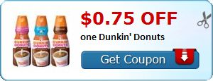 New Coupon!  $0.75 off one Dunkin' Donuts - http://www.stacyssavings.com/new-coupon-0-75-off-one-dunkin-donuts/