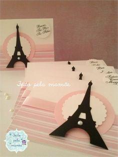 Convite tema festa Paris    Dimensões: 11 cm largura x 8 cm altura.    Pode ser personalizado em qualquer tema. R$ 3,50