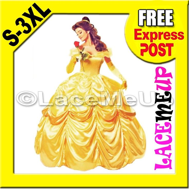 Deluxe Disney Belle Costume Beauty The Beast Movie Fancy Dress Ball Gown sz 8-24 #LACEMEUP #DeluxeGown #FancyCostumeDELUXEGOWN