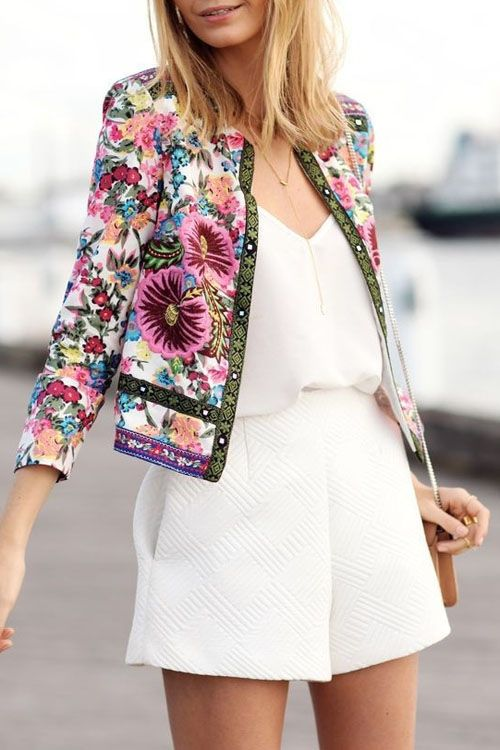 Jewel Neck Colorful Floral Print Coat