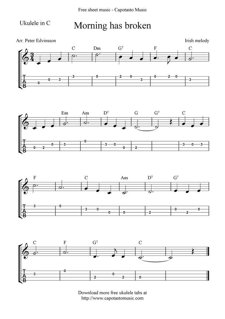 Free Ukulele Sheet Music : Free Sheet Music Scores: Morning has broken, free ukulele tab sheet ...