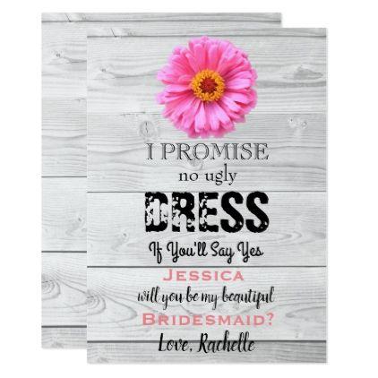 No Ugly Dress If Youll Say Yes Bridesmaid Card